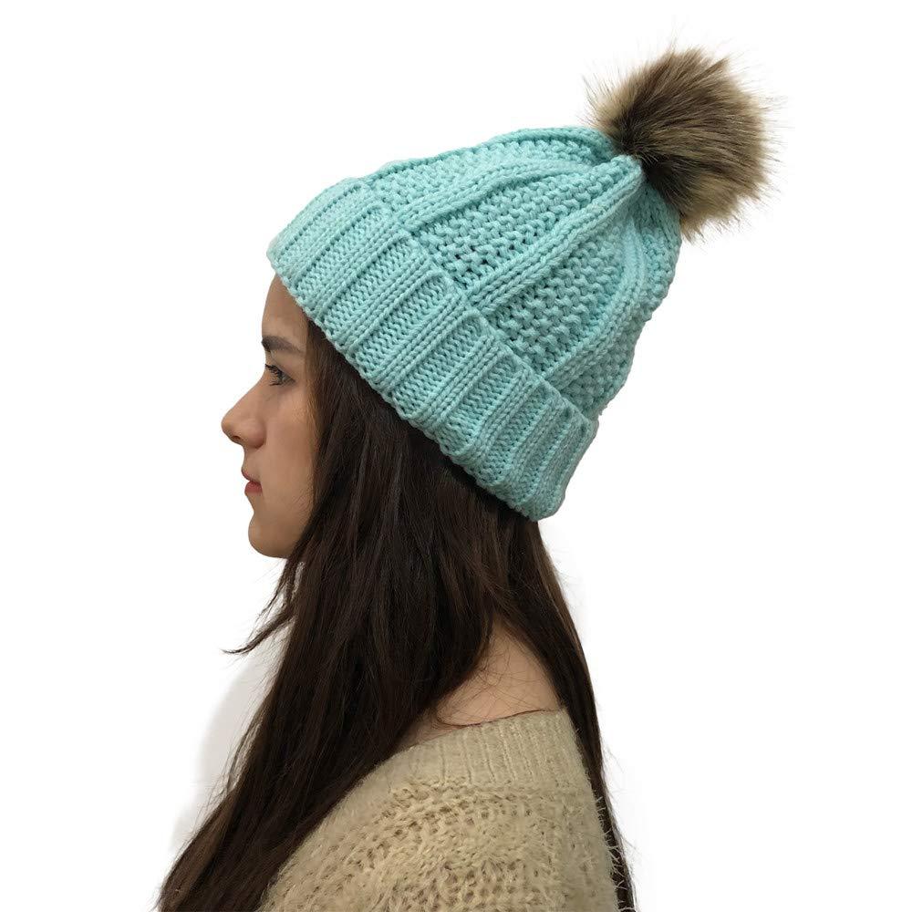 Pervobs Women Trendy Warm Autumn Winter Outdoor Ball Hats Crochet Knit Holey Beanie Cap(Blue)
