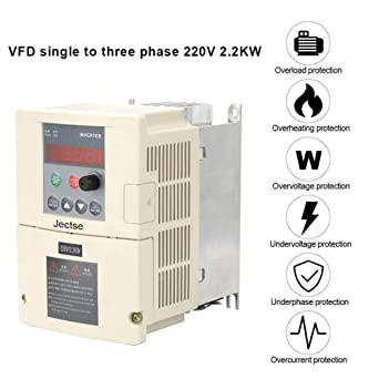 VFD 220V 2 2KW,Single Phase to 3-Phase Frequency Converter