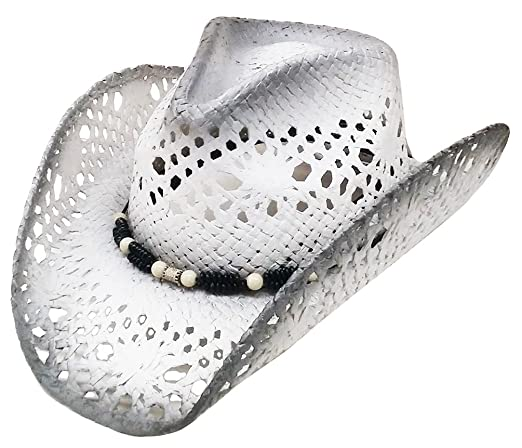 Modestone Unisex Straw Cowboy Hat Grey   Light Grey  Amazon.co.uk  Clothing 1b8a92b4ae7c