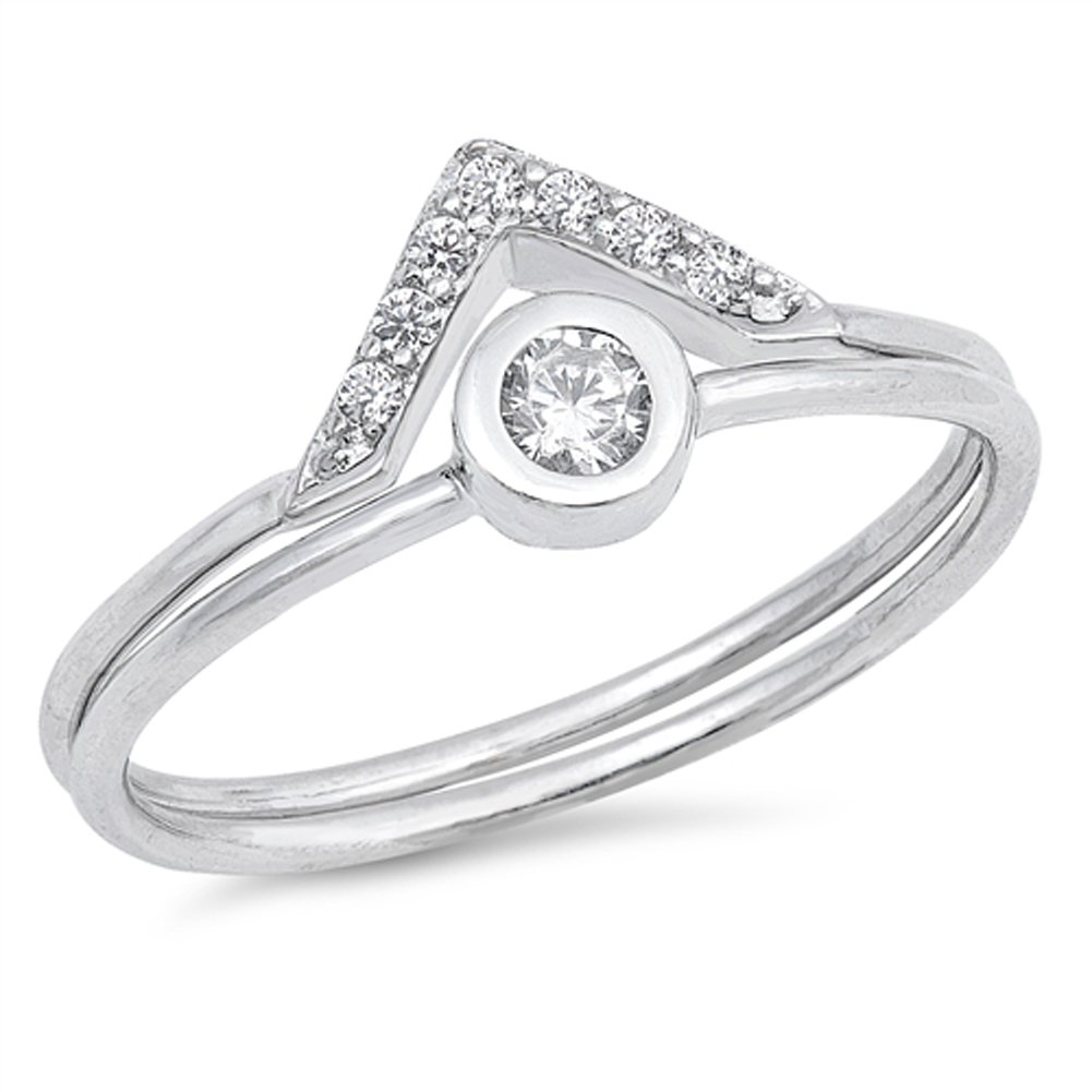 White CZ Pointed Wedding Ring Set New .925 Sterling Silver Eye Band Size 5