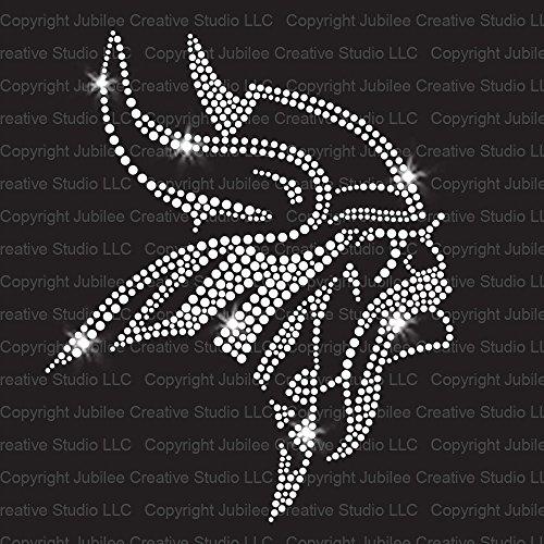 Vikings Head Iron On Rhinestone Crystal T-Shirt Transfer by JCS Rhinestones ()