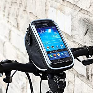 "Ezyoutdoor Cycling Bike Front Frame Bag Double Pouch For Cellphone Below 5.5 inch Handlebar Bag,Top Tube Bag for 6"" Cell Phone Screens"