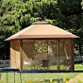 12 X 12 Outdoor Gazebo Canopy With Mosquito Netting And Solar Led