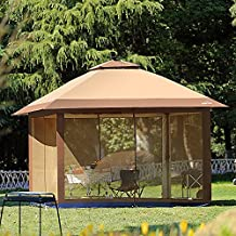 Suntime 12' x 12' Patio Outdoor Pop Up Portable Shade Instant Folding Gazebo with Mosquito Netting and Solar LED Light-Coffee Brown