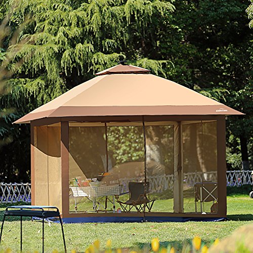 Gazebo Foldable (SunTime 12' x 12' Pop Up Canopy with Mosquito Netting and Solar LED, Outdoor Portable Folding Gazebo Tent)