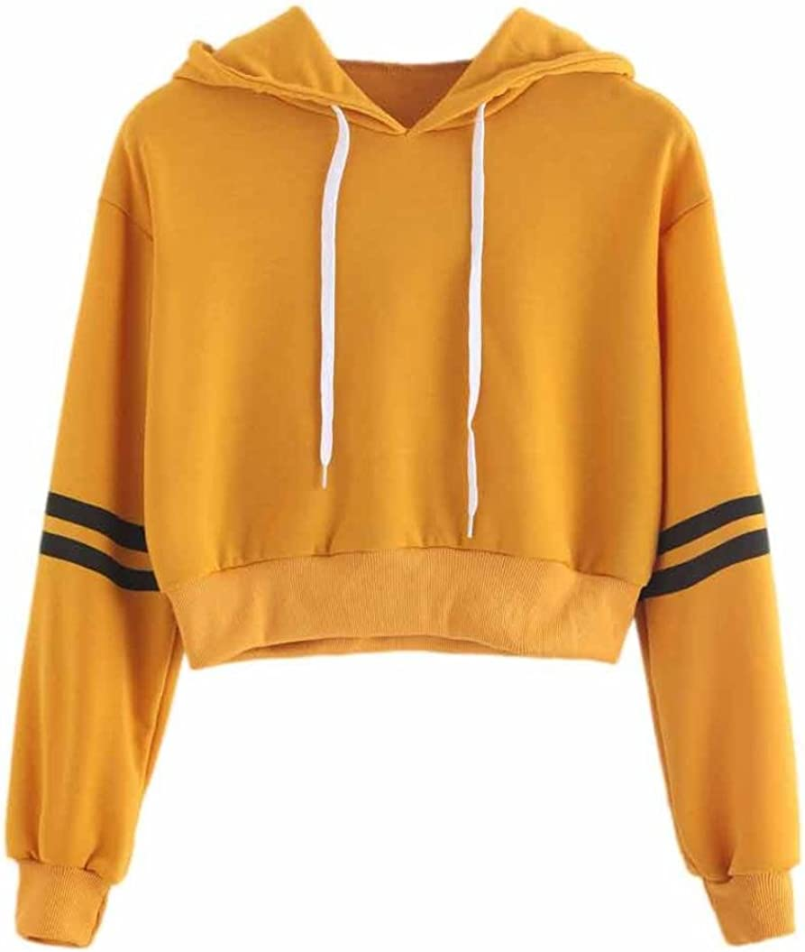 TIFENNY 2018 New Womens Fashion Tops Varsity-Striped Drawstring Crop Sweatshirt Jumper Crop Pullover Blouse with Hooded