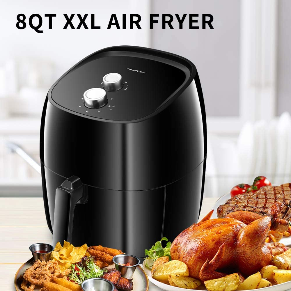 DOIT Extra Large 8QT Air Fryer Combine XXL 2 knobs,8 Cooking Presets a Free Recipe Book,Oilless Air Fryers Black