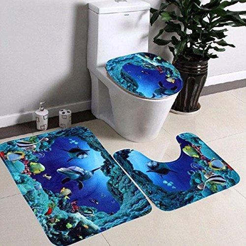Soledi Toilet Rug Mat Set Anti-slip Sea World Designed for Livingroom Hallway Carpet Pedestal Lid Set of 3 Pieces