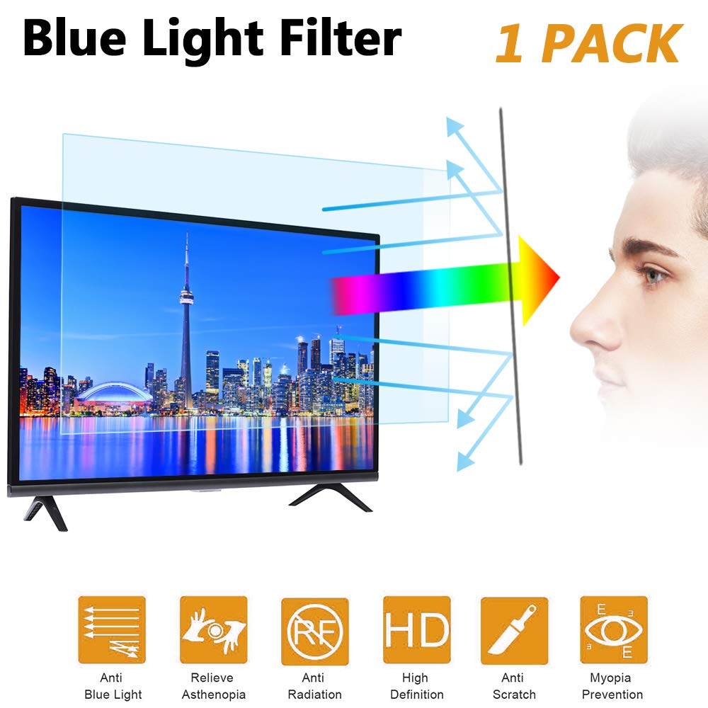 32 in Blue Light TV Screen Protector, Anti Blue Light & Glare Filter Film Eye Protection Blue Light Blocking Screen Protector for 32'' LCD, LED, OLED & QLED 4K HDTV Display 16:9 (32in)