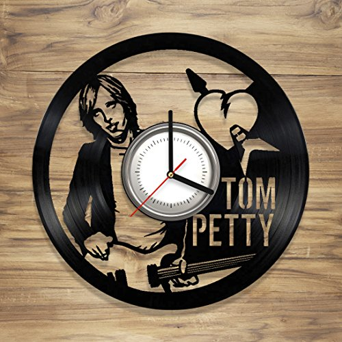 Tom Petty Vinyl Wall Clock Legend Music Singer Heartbreakers Guitar Perfect Art Decorate Home Style Unique Gift idea for Him Her 12 inches