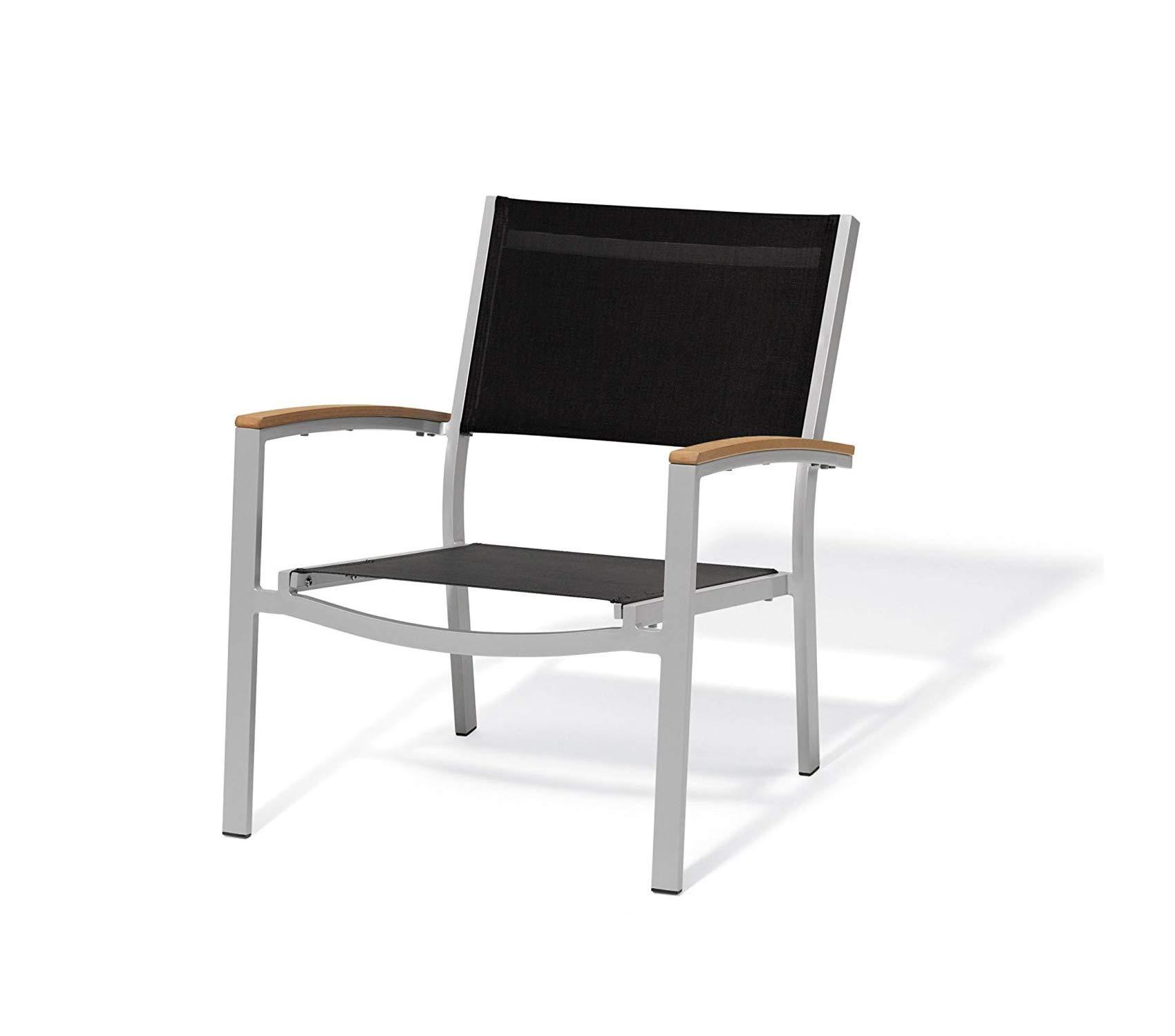 Wood & Style Patio Outdoor Garden Premium Chat Chair - Black Sling Seat - Teak Armcaps - Set of 2