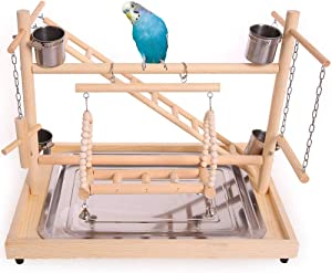 QBLEEV Bird Playground Perch, Parrot Training Stand,Tabletop with Stainless Steel Tray & Feeder Cups Dishes,Ladder Swing for Small Birds and Animals Budgies Parakeet Conure Hamster