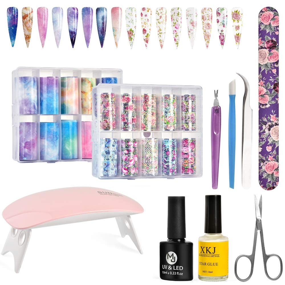 Nail Art Foil Glue Gel with Foil Transfer Stickers Set, Alitake Nail Foil Transfer Stickers Sky Starry & Flower DIY Decoration UV LED Nail Lamp Included by Alitake