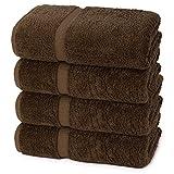 Indulge Linen Dobby Border Towel Sets (Chocolate, Bath Towels - Set of 4)