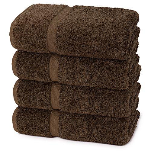Indulge Linen Dobby Border Towel Sets (Chocolate, Bath Towels - Set of 4) ()
