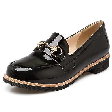 4038c6a190e DecoStain Women s Patent Leather Tassel Loafers Flat Work School Low Heel  Shoes