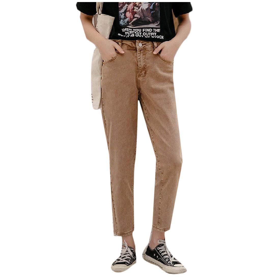 Vska Women Loose Fashion Solid Color High Waist Jean