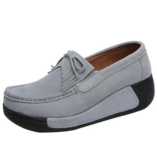 Zapatos de Náuticos Plataforma para Mujer Otoño Invierno 2018 Moda PAOLIAN Zapatillas de Cuña Terciopelo con
