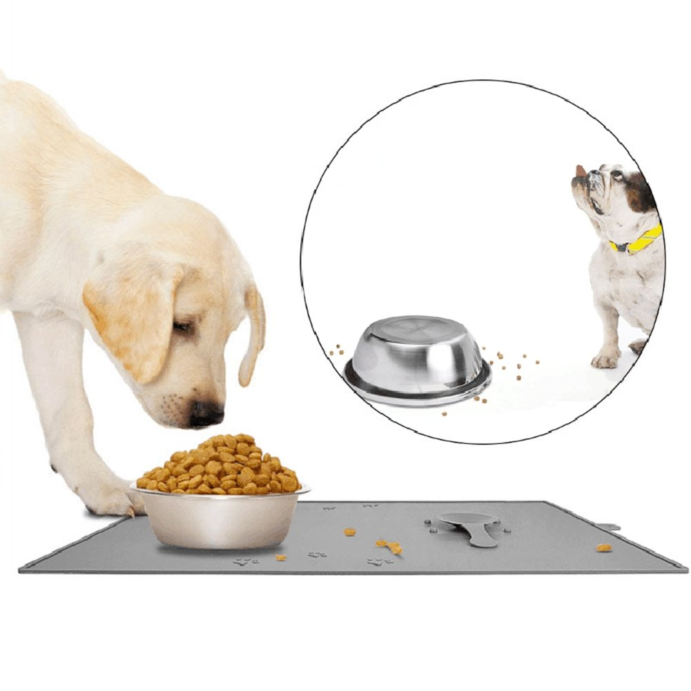 Pet Food Mat, FDA Grade Silicone Feeding Placemat With Suction Pad and Lip for Dog Cat Water and Food Bowl, Non Slip and Dishwasher Safe, Gray
