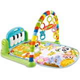 Play Mat Activity Gym for Baby, Baby Game Pad Music Pedal Piano Music Fitness Rack Crawling Mat with Hanging Toys, Lay to Sit