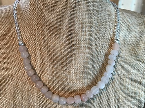 Pale Pink Aventurine Gemstone Nugget Necklace with Clear Czech Glass and Silver Plated Metal Beads