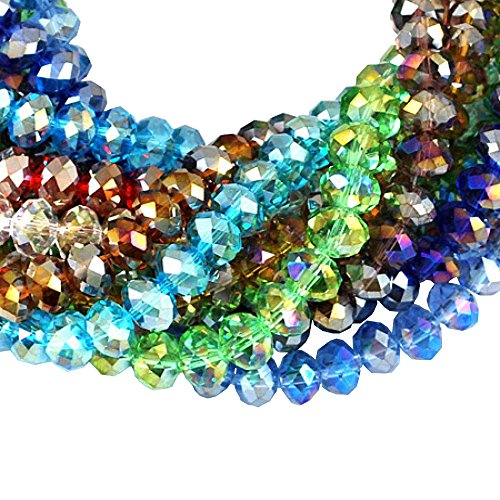 Pandahall 10 Strands 8mm Mixed Color Electroplate Glass Beads AB Color Plated Faceted Abacus, About 72pcs/Strand ()