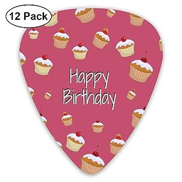 Amazon Com Classic Guitar Pick 12 Pack Happy Birthday Cherry