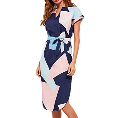 Han Shi Geometry Dress Women V Neck Short Sleeve Bandage Bow Split Ends Boho Gown (