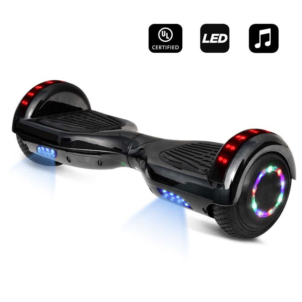6.5'' inch Wheels Electric Smart Self Balancing Scooter Hoverboard with Speaker LED Light - UL2272 Certified (Chrome Black)