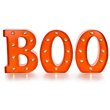 led light up metal boo marquee by darice halloween decorations decor - Metal Halloween Decorations