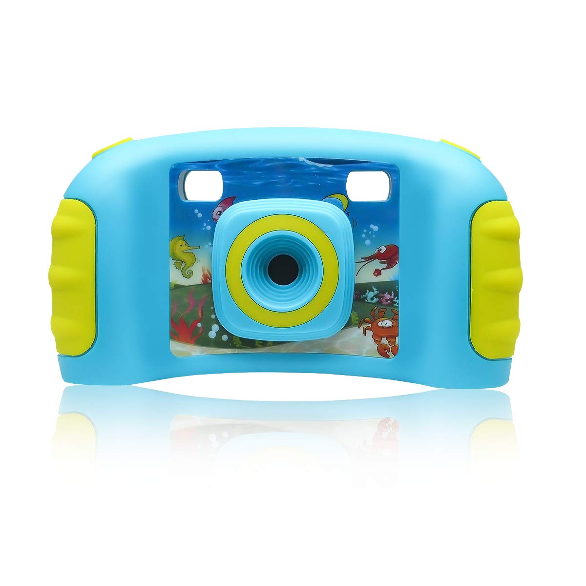 Eggschale Kids Digital Camera, Multi-Function Video Recorder Camcorder Camera with 1.77 Inch LCD Screen, 128 MB Built-in Memory Mini Cameras with 4-in-1 Games, Birthday for Children Boys - Blue