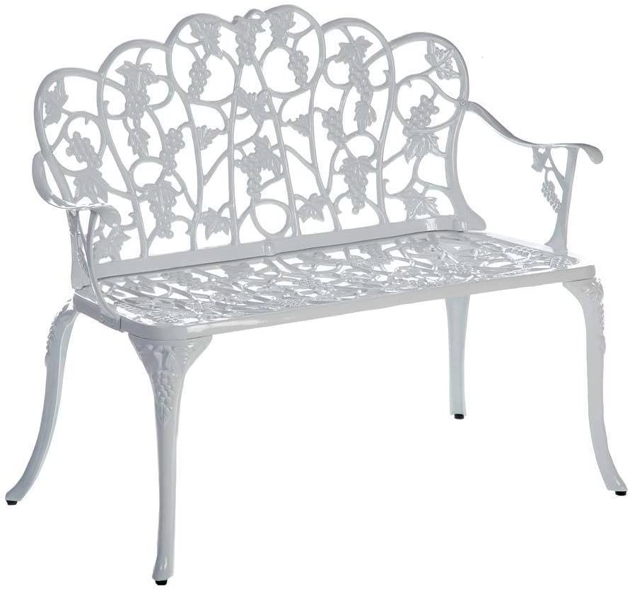 Plow & Hearth 34526-WH Grapevine Outdoor Garden Bench, White : Outdoor Benches : Garden & Outdoor