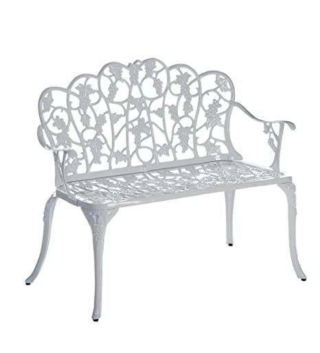 Sensational Plow Hearth Grape Vine Design Two Seat Garden Bench Powder Coated Cast Aluminum In White Beatyapartments Chair Design Images Beatyapartmentscom