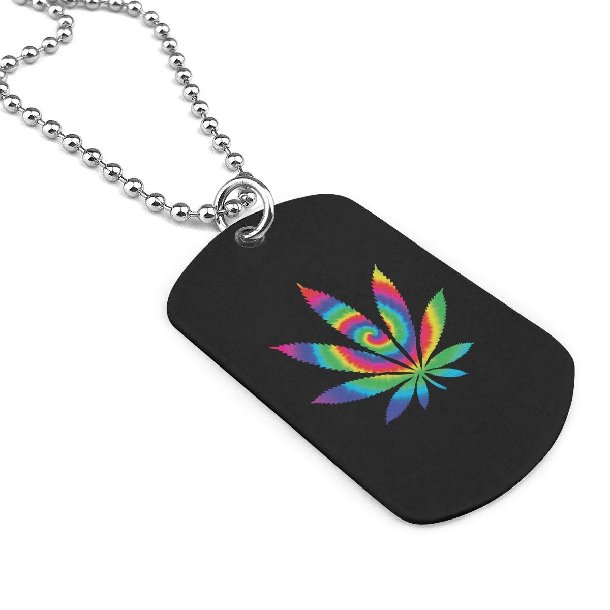 Military Necklace Tie Dye Weed Custom Zinc Alloy Pendant Necklace Dog Tags