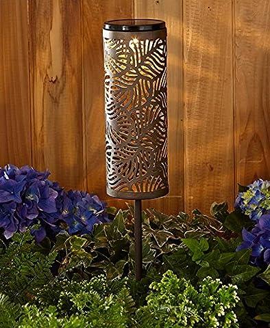 Intricately Designed Metal Solar Lantern Stake (Leaf)