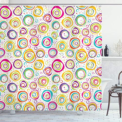 Ambesonne Geometric Shower Curtain, Childish Spirals with Funny Dots Bubbles Background Kids Nursery Theme Print, Cloth Fabric Bathroom Decor Set with Hooks, 70