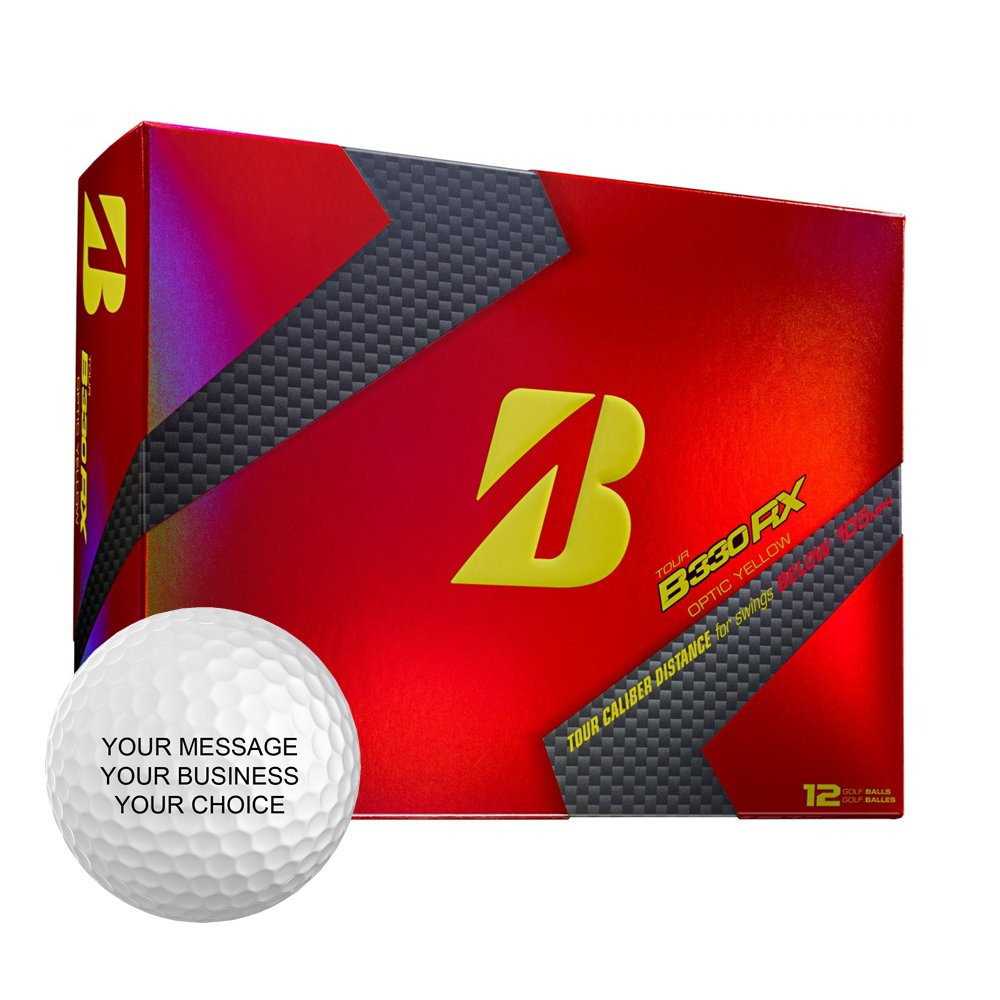 Bridgestone B330RX Personalized Golf Balls - Add Your Own Text (12 Dozen) - Yellow by Bridgestone Custom (Image #1)