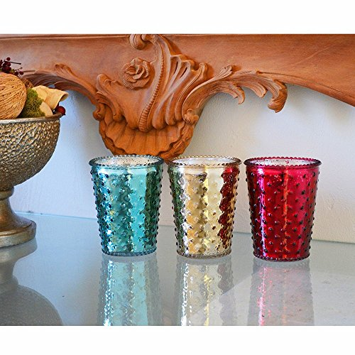 Aromatique 3-pc.Candle Set - Blue, Silver, Maroon (Ruby Hobnail)
