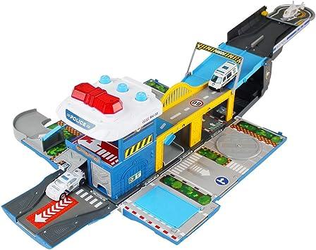 Foxom Garaje Coches Juguete Parking Infantil de Coches con Musica y Luz Deformación Aparcamiento con Coche y Helicóptero, Juguete para Niños 3