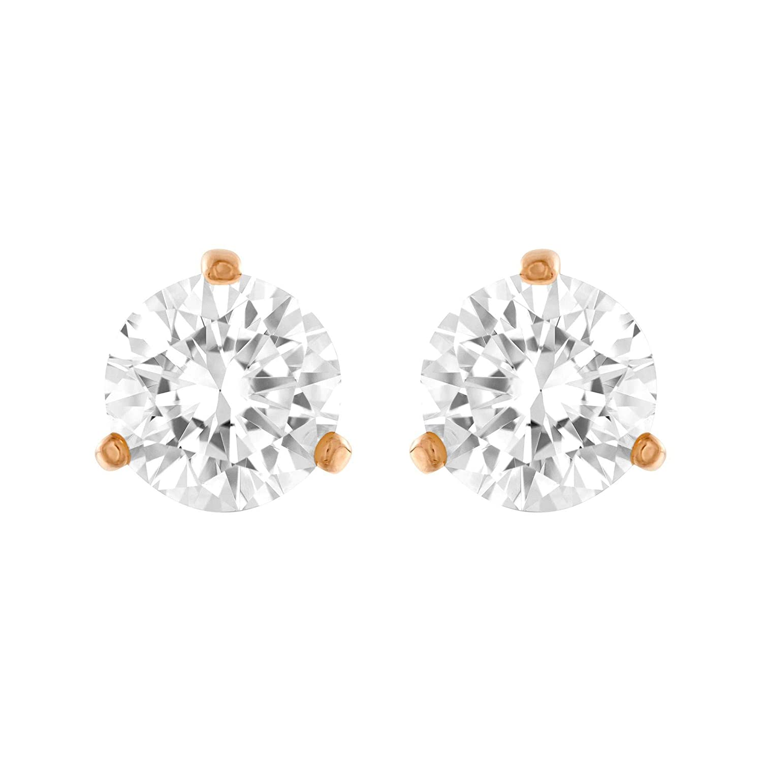 f13a526a0 Amazon.com: Swarovski Crystal Rose Gold-Plated White Solitaire Earrings:  Jewelry