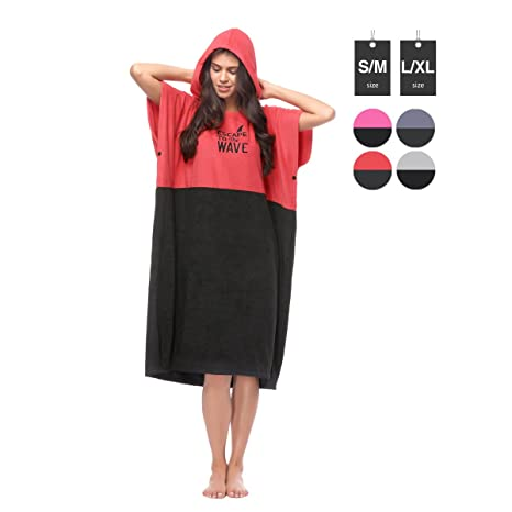 Surf SUP Poncho Wetsuit Changing Robe Towel with Hood Beach Change Towel Red