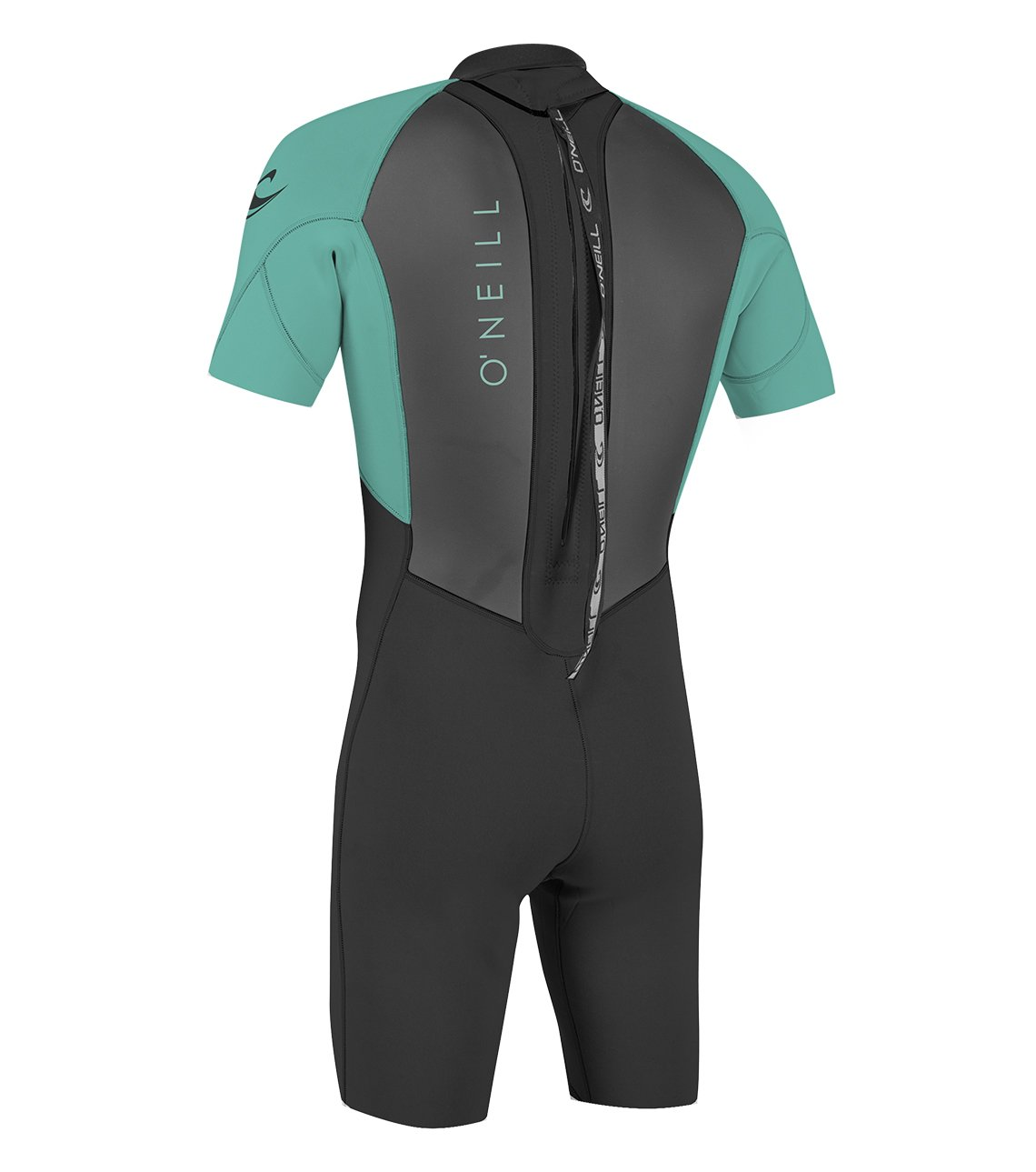 O'Neill Youth Reactor-2 2mm Back Zip Short Sleeve Spring Wetsuit, Black/Aqua, 4 by O'Neill Wetsuits (Image #2)