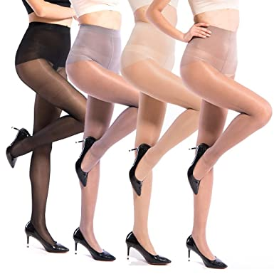 8737933948a Image Unavailable. Image not available for. Color  La Dearchuu 40 Den  Ultra-thin Sheer Dress Tights Fashion Control Top Pantyhose for Women