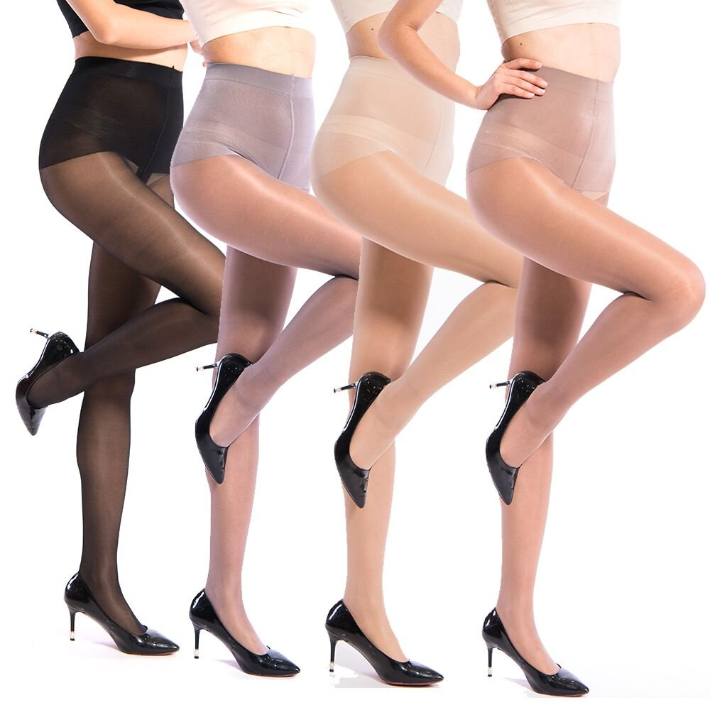 La Dearchuu 40 Den Ultra-thin Sheer Dress Tights Fashion Crontrol Top Pantyhose for Women Pack 4