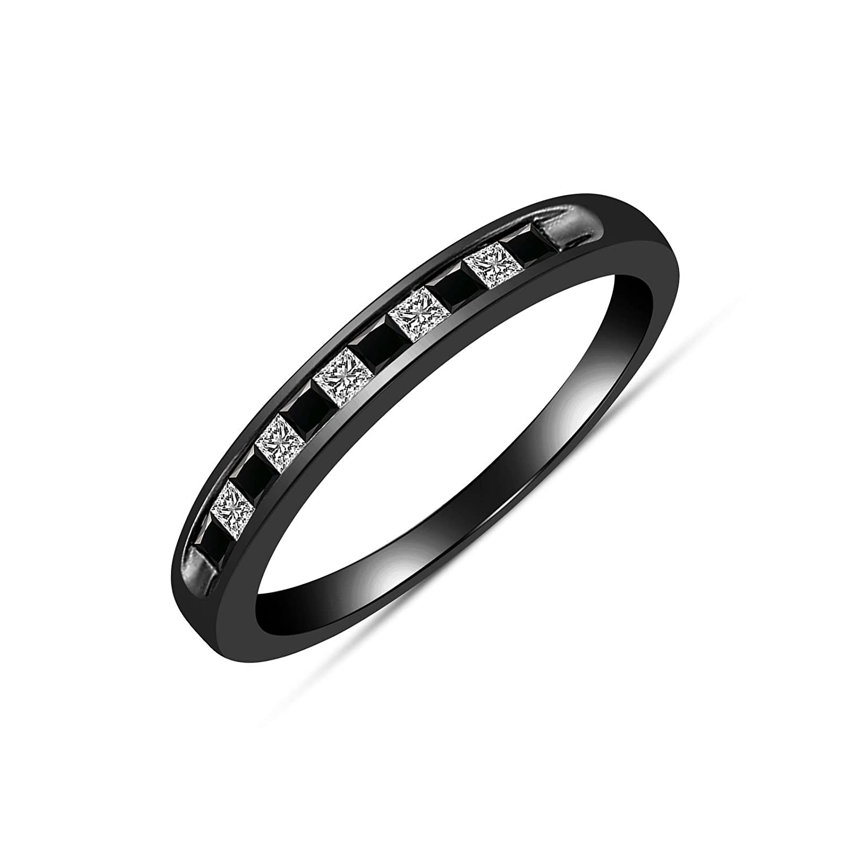 14K Black Gold Plated Round Black /& White CZ Diamond Engagement Band Wedding Ring
