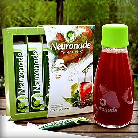Neuronade bebida para la concentración I con vitaminas elementales & 7 plantas medicinales (entre ellos ginkgo, brahmi, rhodiola), sin cafeína & vegano - 12 ...