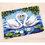 Vervaco PN-0021856 | Lrg Hole Canvas Swans Rug Latch Hook Kit | 55 x 40cm Approx