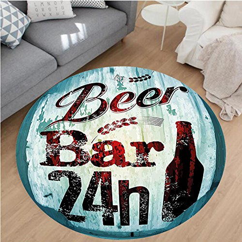 nel Microfiber Non-Slip Machine Washable Round Area Rug-Beer Bar 24h Figure Old Pub Sign Emblem Restaurant Graphic Design Maroon Dark Brown Teal area rugs Home Decor-Round 32