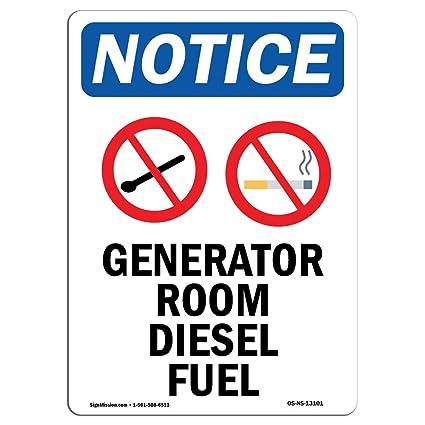 Amazon com: OSHA Notice Sign - Generator Room Diesel Fuel
