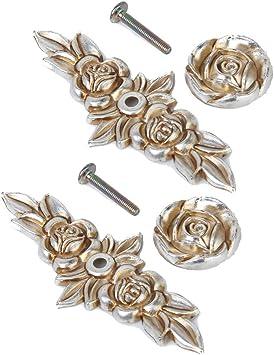5Pcs Antique Silver European Style Vintage Handles Pulls for Cabinet Door Dresser Cupboard Closet Drawer Furniture